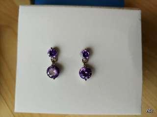 Denni Earrings with Purple Cubic Zirconia stone