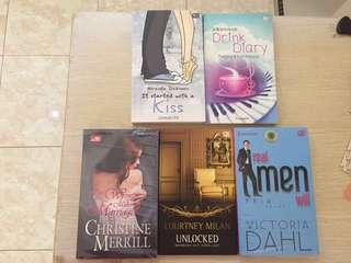 50k dapet 5 buku novel (It started with a kiss, two wrongs to make a marriage, unlocked, real men will & drink diary)