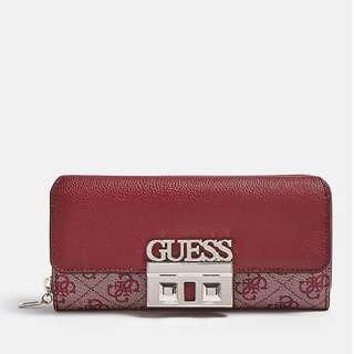 Guess 全新 紅色 仿皮 皮質 皮感 質感 Logo壓紋 皮夾 長夾 名牌 精品 Guess皮夾
