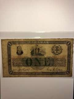 1919 Sarawak $1 No. 17545 Original about Fine( Super RARE!!!)