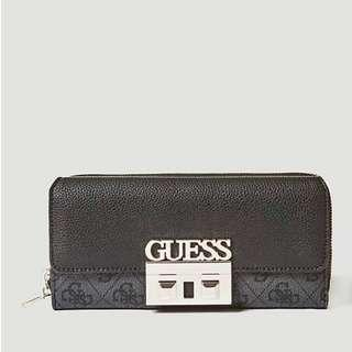 Guess 全新 深灰色 仿皮 皮質 皮感 質感 Logo壓紋 皮夾 長夾 名牌 精品 Guess皮夾