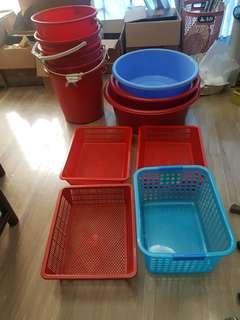 Assorted basins, pails n baskets
