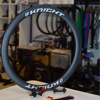 Knight Composites 50mm (Patented Technology) Carbon Tubeless Clincher with Aivee Edition One Hubs