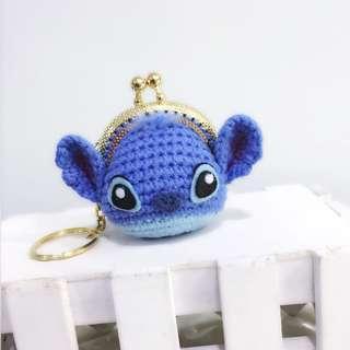 Handmade Crochet Amigurumi Stitch Mini Coin Purse Keychain