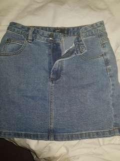 Plain mini denim skirt