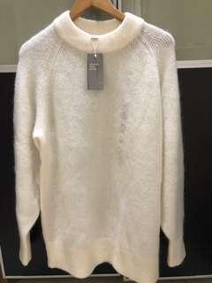 Brand New H&M white sweater dress XS mohair blend