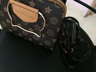 Hand bag plus sling branded bag
