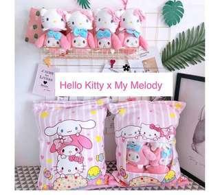 Premium Quality Hello Kitty x My Melody Pillow Plushie Zip Cushion
