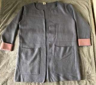 韓國 紫拼粉色 針織冷外套 中長款