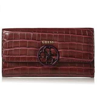 Guess 全新 酒紅色 紅色 鱷魚紋 鱷紋 動物紋 亮皮 質感 拉鍊式 皮夾 長夾 名牌 精品 Guess皮夾