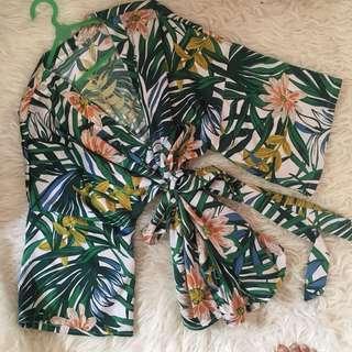 Kimono Outer Tropical Palm Bunga-Bunga