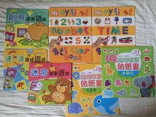 幼兒啟蒙貼紙書丶畫線丶運筆遊戲(只有中文共五本)