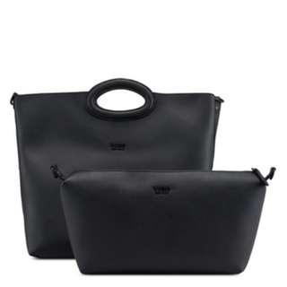 Guess 全新 黑色 二合一 仿皮 質感 手提包 托特包 側背包 肩背包 名牌 精品 Guess皮夾