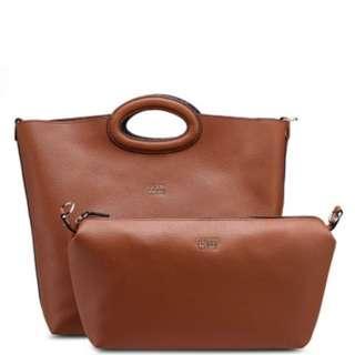 Guess 全新 棕色 皮色 二合一 仿皮 質感 手提包 托特包 側背包 肩背包 名牌 精品 Guess皮夾