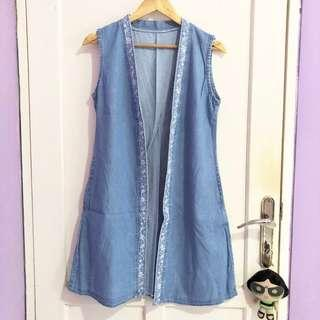 Embroidery Denim Vest / Outer