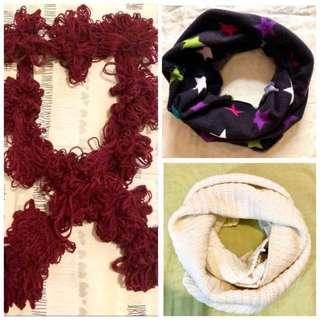 Xmas Sale🎉$60 for all 3 Wine Red Scarf & Wraps 90% New