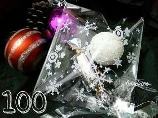 100個 聖誕雪花透明自粘袋 禮品包裝袋 餅乾糖果袋 14×14cm