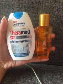Vitamin rambut Loreal extraordinary dan odol theramed