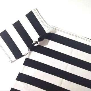 Striped fitted off shoulder