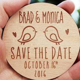 50 PCS Rustic Wood Carved Save the Date Magnets With Two Love Birds