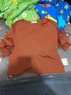 全新Niki and ..橙色橡筋袖top
