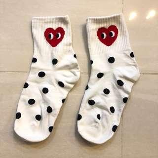 Korean Crew Socks Polka Dots CDG inspired