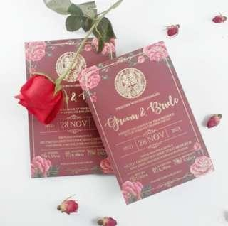 40 PCS Red + Gold Modern Chinese Wedding Invitations