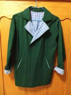🚚 針織翻領開襟墨綠色拼格紋外套
