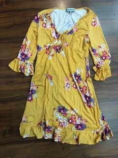 Almost famous yellow floral ruffle dress