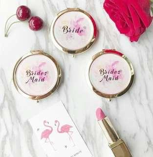 Portable Compact Mirror With Custom Logo For Bridesmaids or Flower Girl Gift