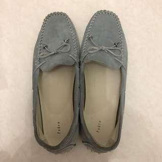Sepatu Pedro Ori Flat Shoes Slip On Gray Abu Ribbon Pita Bludru