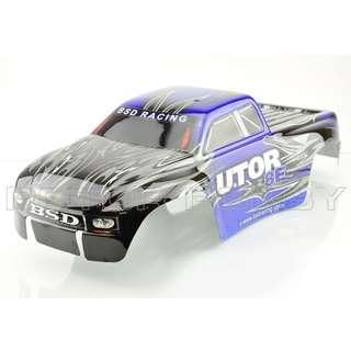 [With PRE-FIX DECAL, HOLE REAMERED] BSD RACING Body Shell BLUE & BLACK for 1/8th scale BS810T Truck
