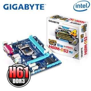 GIGABYTE 技嘉 GA-H61M-DS2 主機板 1155 ddr3 全新