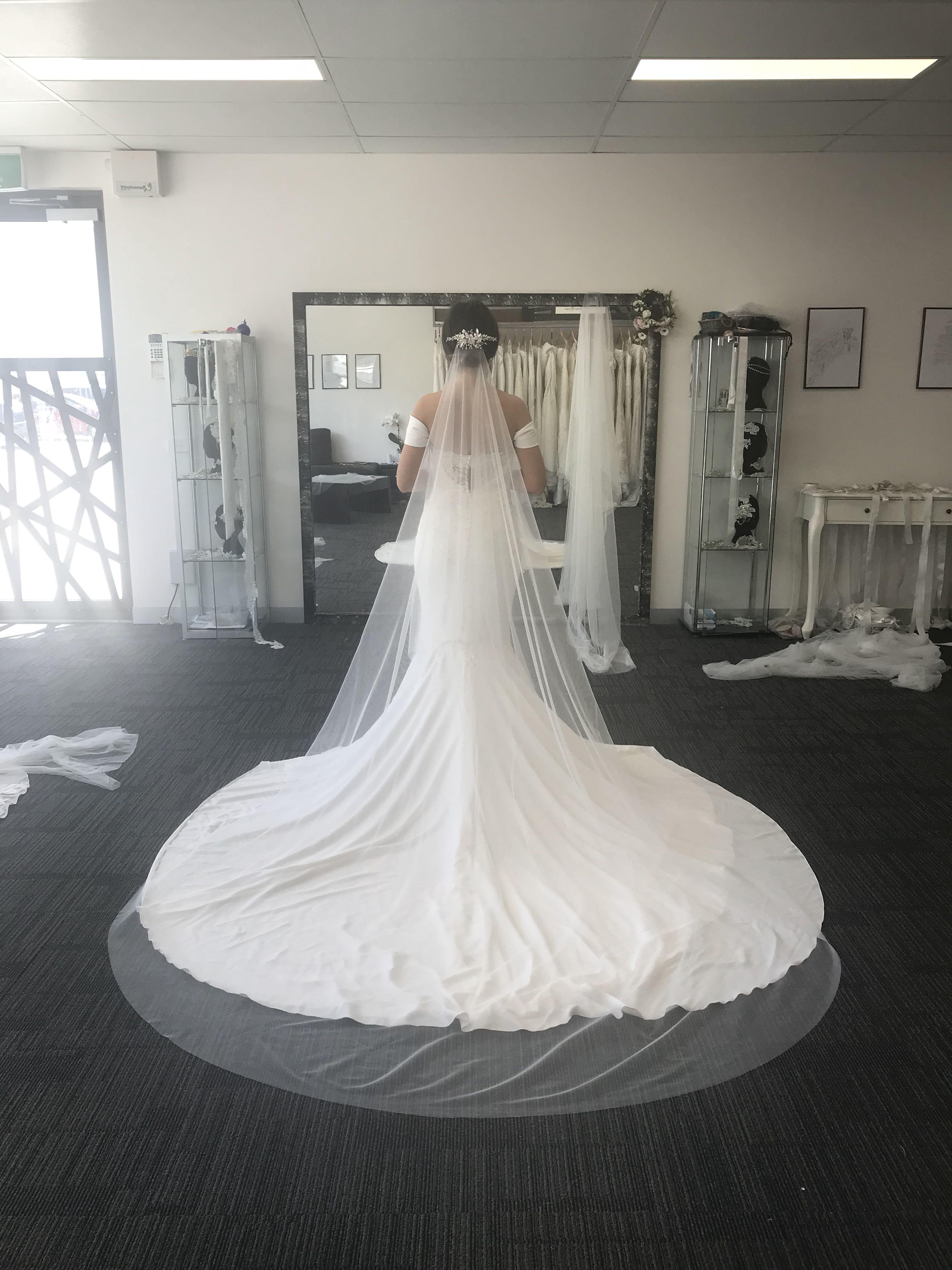 1tier waterfall cathedral length in french silk tulle