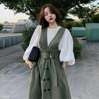 🚚 軍綠色吊帶裙 全新