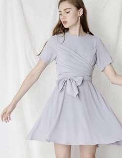 AWD Andwelldressed Tribute Tie Front Wrap Dress in Lilac Grey