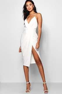 White wrap midi dress