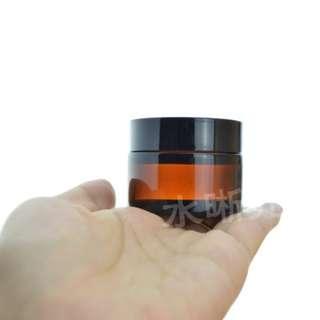 30g棕色 茶色玻璃日/晚霜瓶 膏霜瓶 黑蓋 化妝品分装瓶 試用瓶