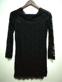 Off-shoulder Black Lace Dress