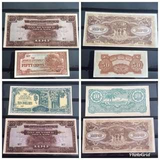 UNC 4 SGP Malaya Jap Occ notes