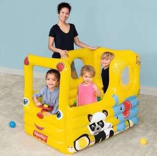 BN Fisher-Price Inflatable School Bus Yellow Animal Play Ball Pit