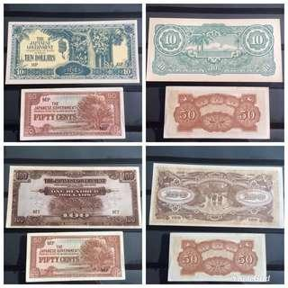 4 UNC SGP Malaya Jap Occ notes