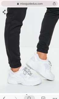 Missguided Chunky White Sneakers Sz 6