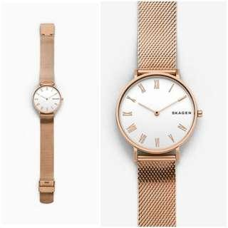 Skagen Hald Rose-Tone Silk-Mesh watch