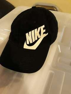 Nike Hat black with white tick/writing