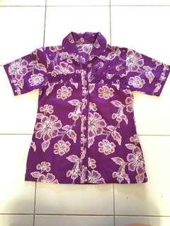 Baju Wanita ungu motif bunga