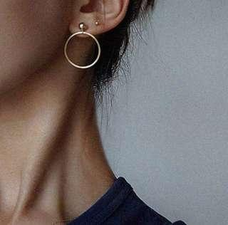 Gold and silver hoop stud earrings