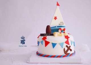 Birthday cake - Ocean theme(Sailboat )