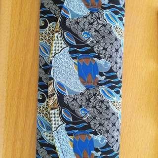 Preloved Tas Clucth Batik Biru Kain