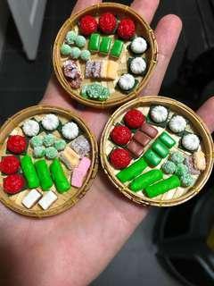 Handmade Miniature Nonya Kueh in a tray (clay)